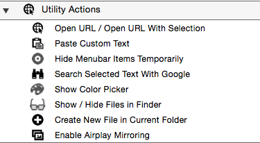 Utility actions