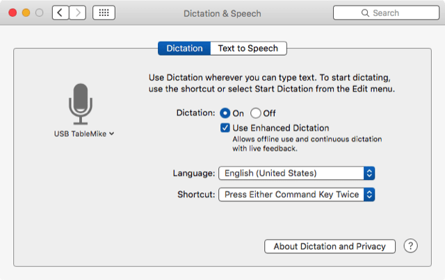Dictation feature