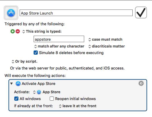 App store macro