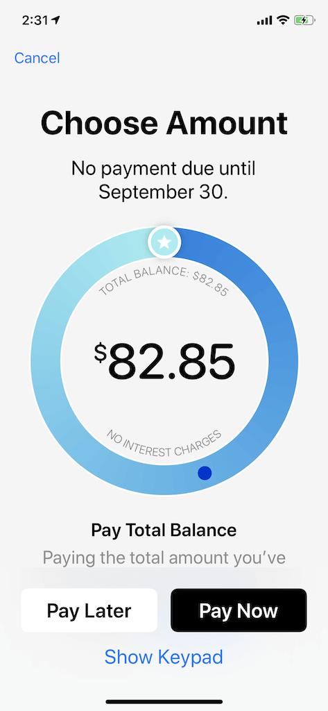 Apple Card app interactive feature