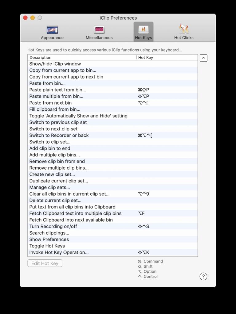 Hot key setting for iClip