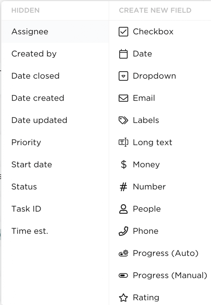 Custom fields include date, checkbox, labels, and number.
