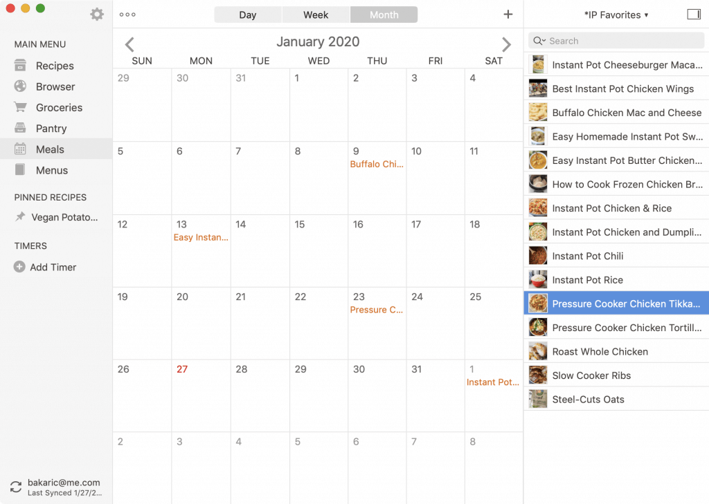 Calendar view of Paprika