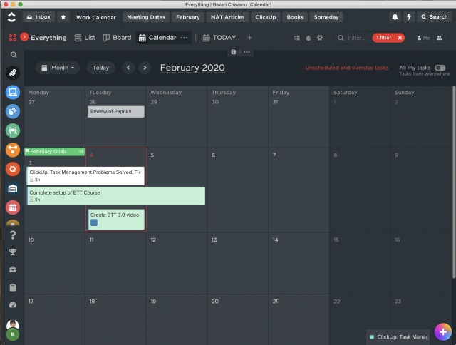 Month view of where you can filter all your scheduled tasks and lists.