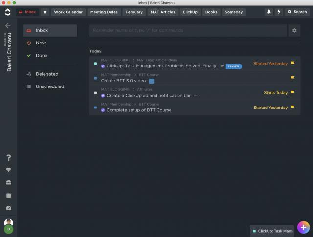 ClickUp task management application.