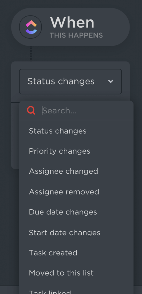 Status conditions for a ClickUp workflow.