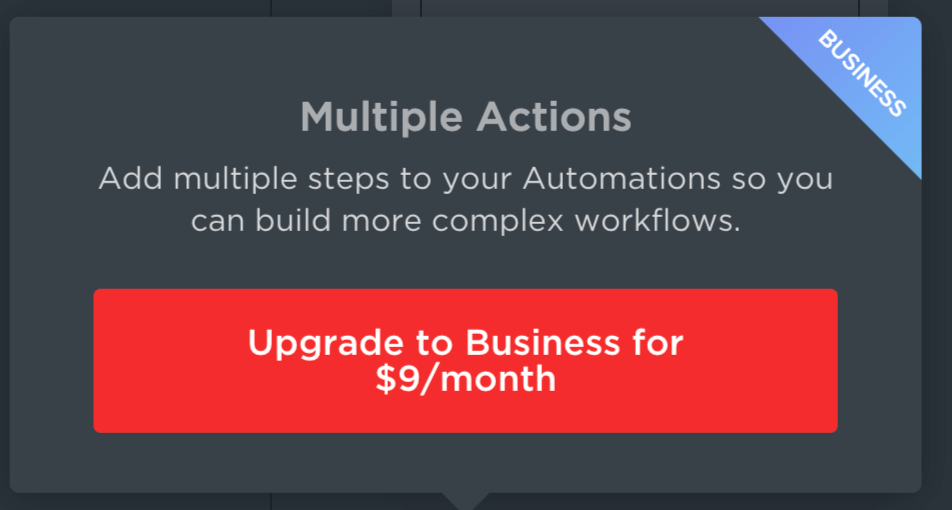The upgrade cost for multiple actions in ClickUp.
