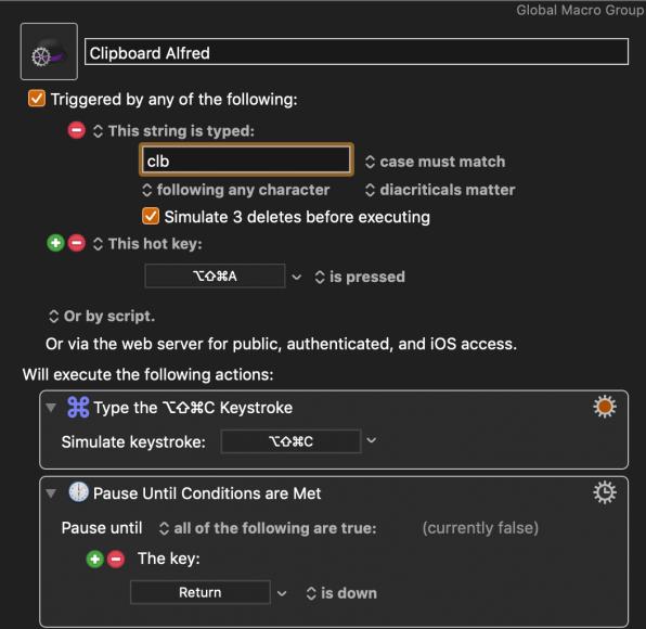 Keyboard Maestro macro for triggering Alfred shortcut.