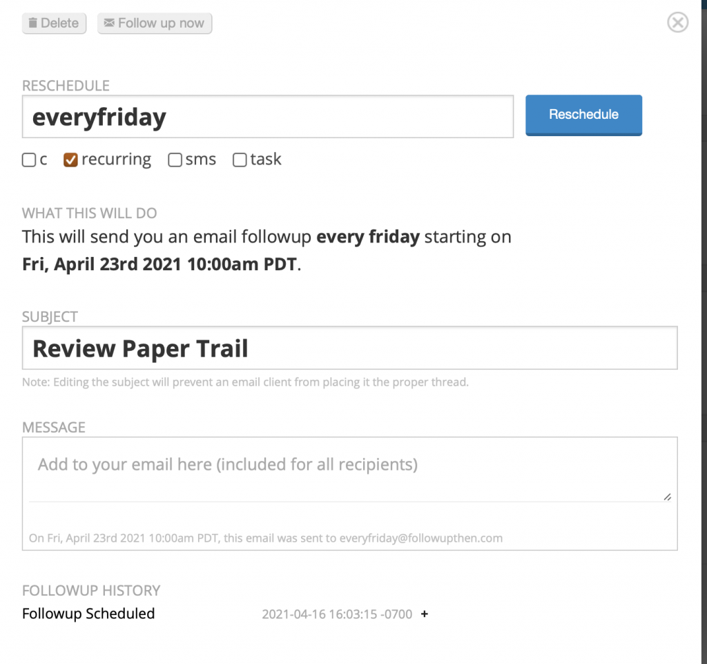Setting up tasks reminders in FollowUpThen.